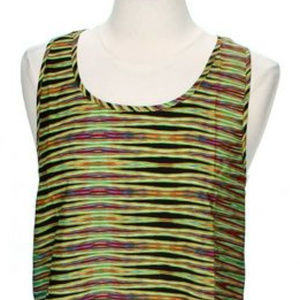Body Central Green Print Tank Top Size M